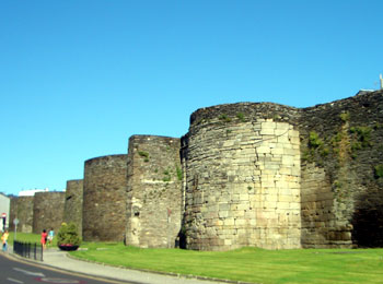 A section of the complete Roman walls around Lugo