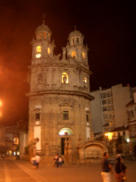The Pilgrims chapel in Pontevedra old town at night